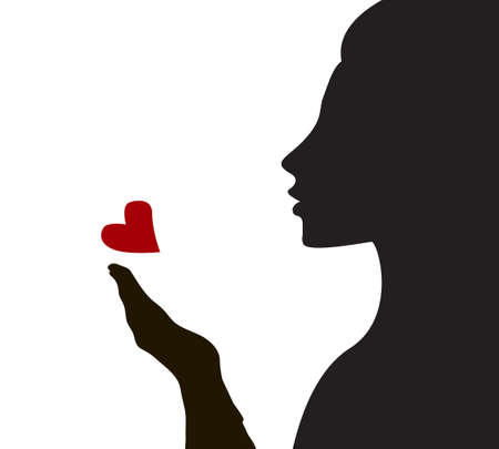 air kiss, Valentines Day silhouette on white background