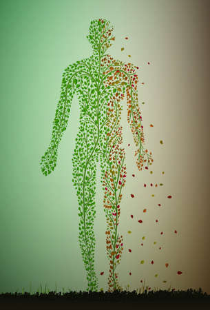 Man is getting older idea, age concept, dying tissue concept, skin problem idea, man silhouette build with small green leaves and growing in soil vector.