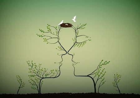 Het aantal mensen kijkt als de silhouetten van boomtakken met vogelnest, familieconcept.