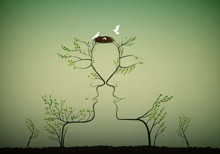 Couple of people look like tree branches silhouettes with bird nest, family concept.