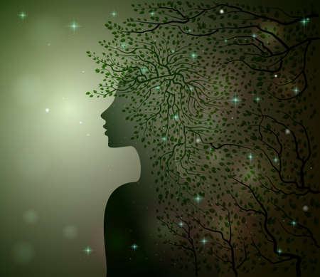 midnight summer dream, forest fairy, woman profile decorated with leaves branches and sparkles, Flora,