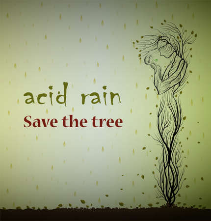 Text acid rain save the tree and dying tree looks like man and holding the last green leaf, save plant concept, eco art,