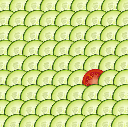 cucumber textured background with one slice of tomato, special vegetable, vector Çizim