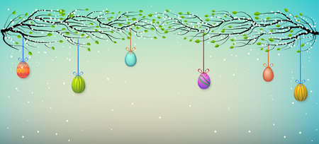 spring blossom tree branches decorated with hanging colored Easter eggs, vector  イラスト・ベクター素材