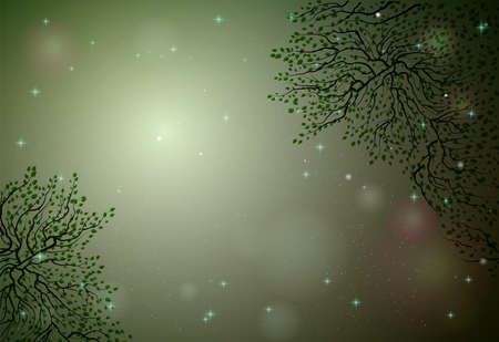 green fairy plant frame, fireflies in the summer dream background, fairy green tree branches,