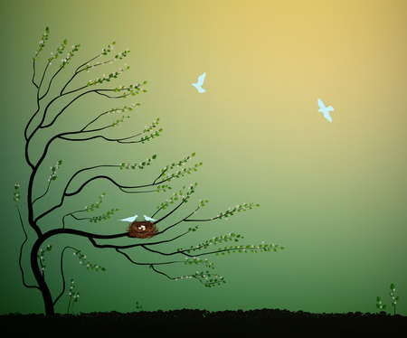 Arbre avec nid et vol d'oiseaux bleus en vol, retour à l'idée de la maison de la nature, nidification de printemps Banque d'images - 94959168