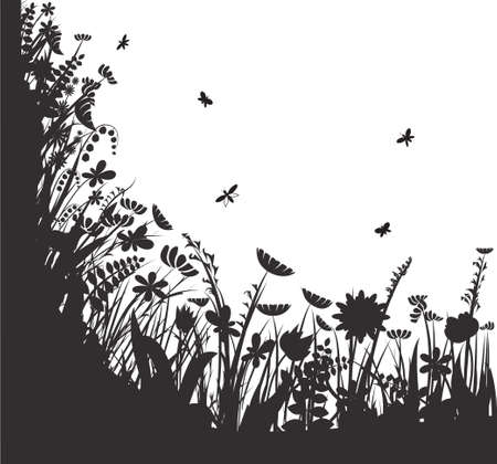 shadows flowers, summer round, vector, black and white, Banco de Imagens - 94938448