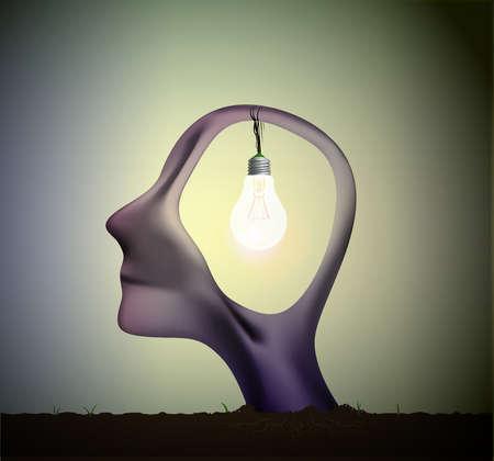Man profile head with bulb inside Illustration