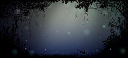 deep fairy forest silhouette at night with moonlight and fireflies,