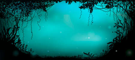 deep fairy forest silhouette at night, fireflies in the summer forest,