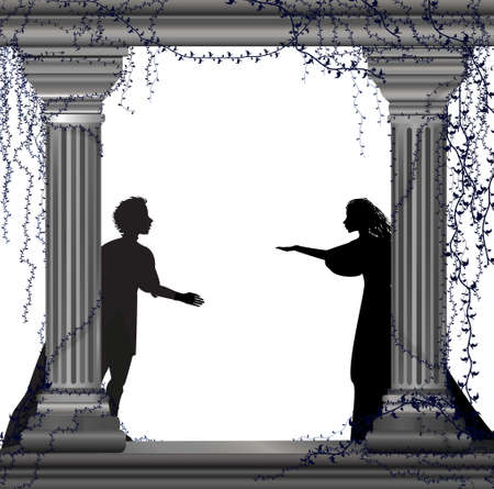 Silhouette of a boy and a girl behinds two pillars.