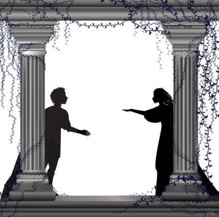 Silueta de un niño y una niña detrás de dos pilares.
