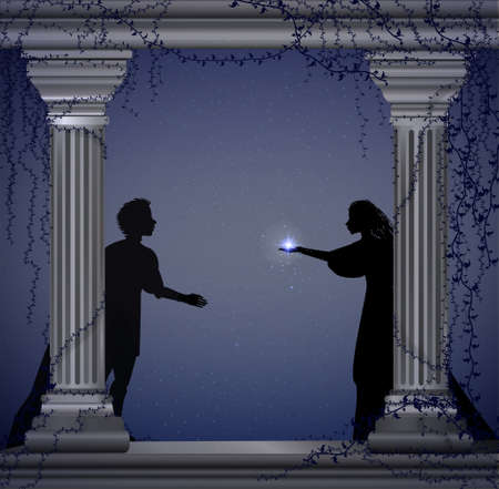 Shakespeare s play Romeo and Juliet at night, romantic date, silhouette, love story,
