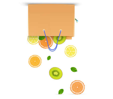 eat and buy more fruits, veg day concept, eco fruits concept, fruits falling from paper bag kiwi, citrus, lemon, grapefruit, mint, leaves vector Illustration