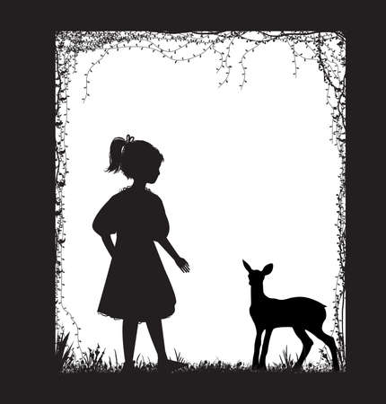 girl and small deer silhouette, forest story, black and white, childhood memories, vector