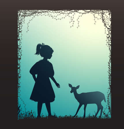 girl and small deer silhouette, forest story,