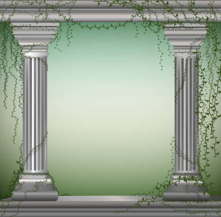 two marble columns with liana, romantic place in the antique garden,theater decoration,