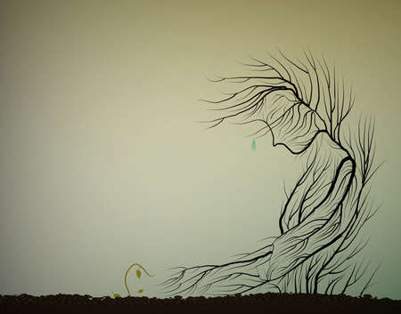 Tree cries because small sprout die, dying forest concept, save the last tree idea,