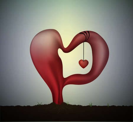 surrealistic love idea or concept, Salvador Dali icon of love, soft red heart with small red heart inside, monument of love and passion, Valentine s soft romantic dream, Illustration