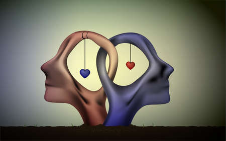 marriage icon, people head in love, blue man and red woman heads in love, surrealistic romantic dream,together forever,