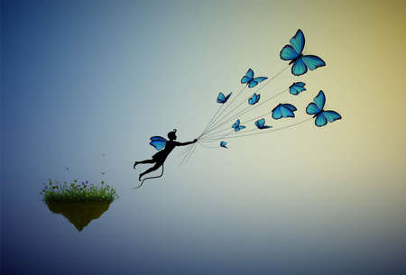 boy holding flock of blue butterflies and flying away from the flower island, fairy character, life in the dreamland on flying rock, silhouette. 일러스트