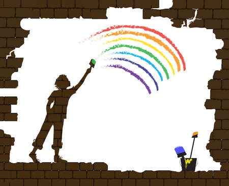 boy draws a rainbow on the old broken brick wall, life after war, new life after disaster idea, graffiti, Ilustração