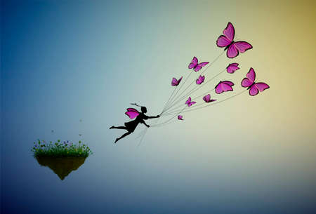 fairy holding flock of pink butterflies and flying away from the flower island, fairy character, fly to the sun, life in the dreamland on flying rock, silhouette.
