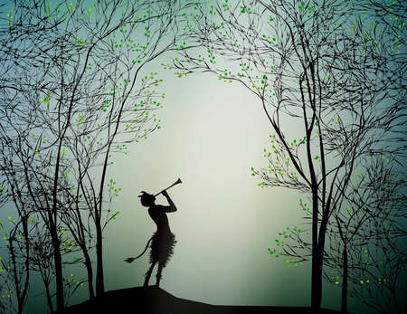 Faun playing in the spring forest