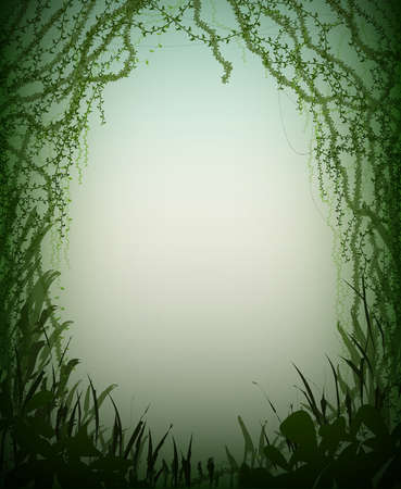 green thicket rainforest cave, deep fairy forest silhouette, jungle shadows