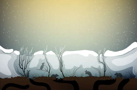 mice life under the snow, animal life in winter weather, vector