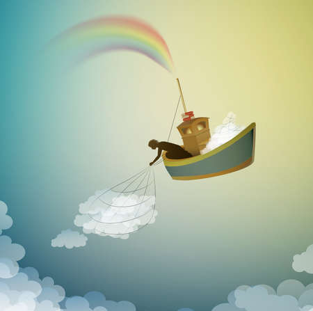 cloud keeper, creating the rainbow catching the cloud, magic ship in the dreamland, scene from wonderland, vector Illustration