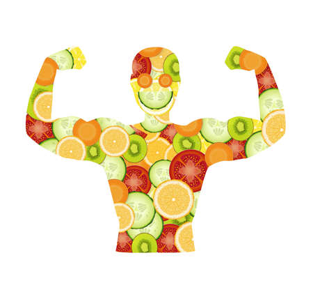 power of the vitamin, healthy food concept isolated on white background, man silhouette created from vegetable and fruits,