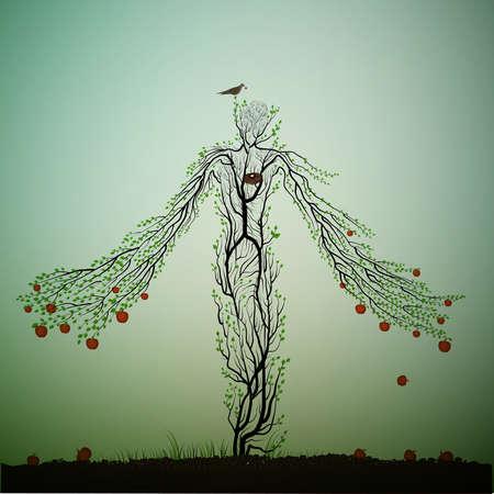 manzano parece una mujer y estirando sus manos ranchos con manzanas rojas, carácter mágico del manzano, árbol del país de los sueños o del país de las maravillas, planta viva, ilustración vectorial. Ilustración de vector