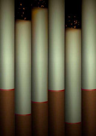 cigarettes in row,