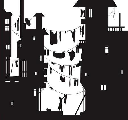 도시의 loundry 날, 여자는 세탁 천을 걸고, 집 사이에 천을 걸고, 천 와이어 실루엣으로 여름 도시 전망, 흑백, 벡터 벡터 (일러스트)