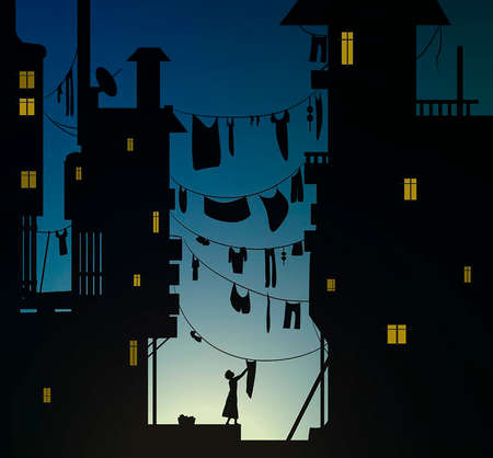 matin dans la ville, la femme accroche le chiffon à laver, le tissu est suspendu entre les maisons tôt le matin, vecteur