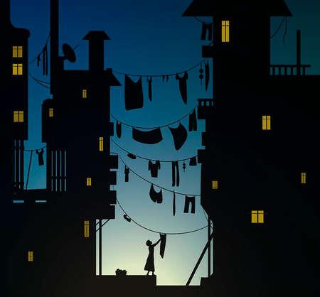 Wäschemorgen in der Stadt, Frau hingt das Waschtuch, Tuch hing am frühen Morgen zwischen den Häusern, Vektor
