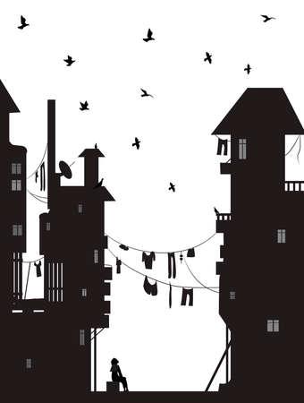 soñador, la niña se sienta cerca de las casas de la ciudad y mira palomas voladoras, vector de sueños