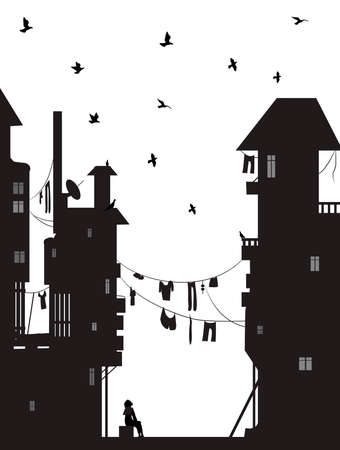 dreamer, girl sits near the city houses and look at flying pigeons, dreams vector