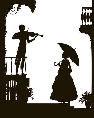Hören Sie die Geigenmelodie, die romantische Szene in der Stadt, das altmodische Mädchen, das den Regenschirm hält, und hören Sie den Geiger, die romantische Musik, den Schatten und den Vektor