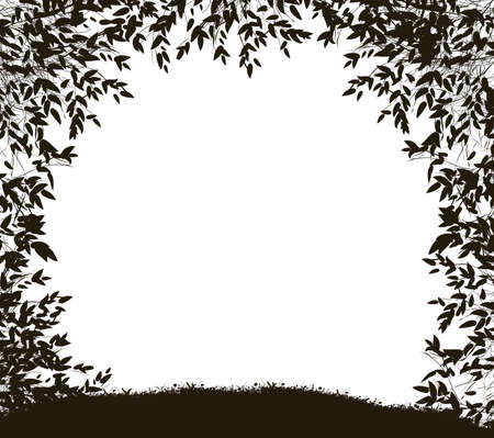 Way from the forest, shadows, forest silhouette 向量圖像