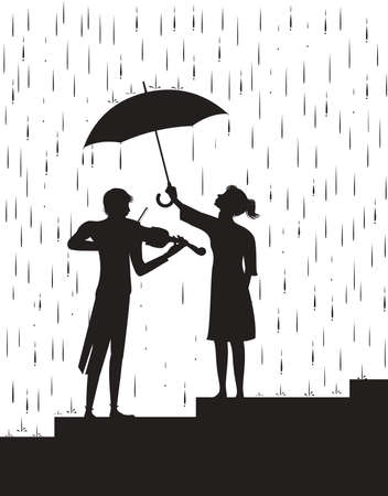 Girl holding the umbrella above a violinist. Music under the rain, black and white, shadow, vector