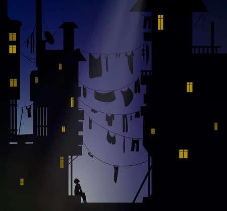 nachtdromer, jongen zit in de buurt van de stadshuizen en kijk naar de lucht, dromen vector Vector Illustratie