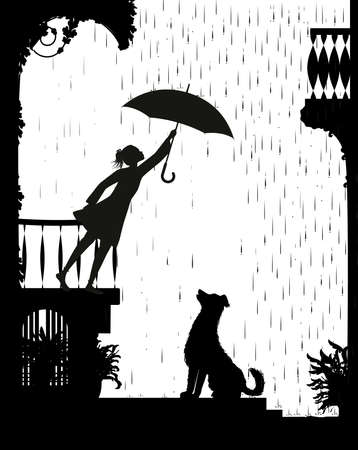 take care the dog, Girl on the balcony holding the umbrella above the dog, my friend dog, black and white, shadow, vector Illustration