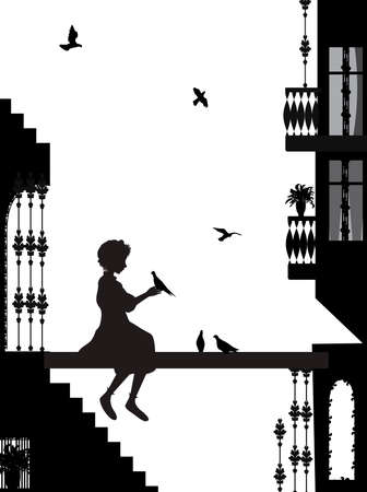 My friend dog, dog and girl silhouettes in the city Stock Illustratie