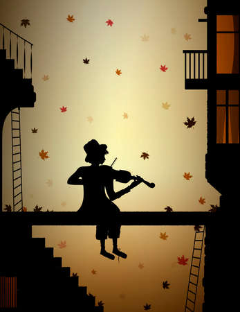 autumn melody, colored leaves falling and poor boy plays violine in the old town, Illustration