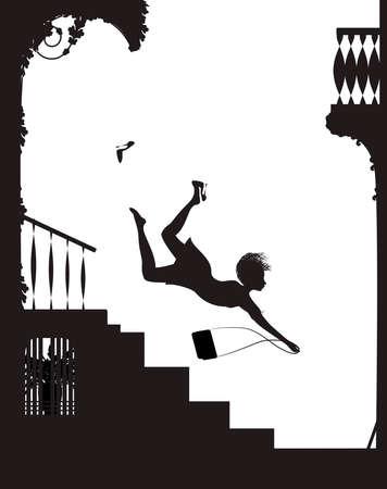 Chica fashinable en tacones altos cayendo de las escaleras, concepto de zapatos de moda peligrosa, silueta de vector de chica cayendo