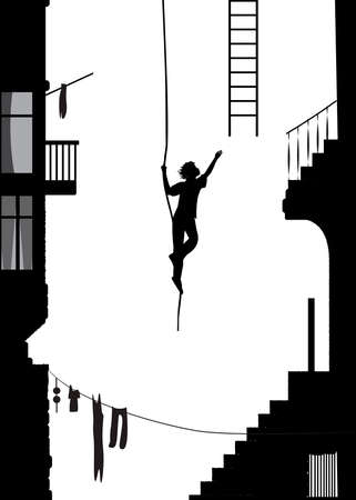 the thief runs away with ladder, stuntmen silhouette in the city, black and white memories, vector