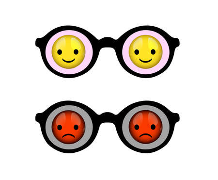 optimist and pessimist concept, negative and positive view, vector