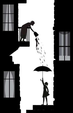 cattivo vicino, trucchi di un vicino, donna povera l'acqua dal balcone sulla giovane donna al piano di sotto, vita nelle sagome della scena della città, vettore Vettoriali